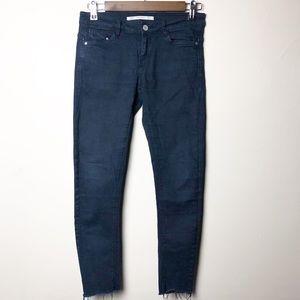 Zara Navy Blue Frayed Ankle Skinny Jeans Sz 4 ✨